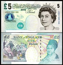GREAT BRITAIN , ENGLAND  5 POUNDS 2002 (2004) UNC P.391C QEII Sign A BAILEY