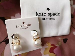 Brand New Kate Spade Pearl Hanging leverback Earrings with Kate Spade pouch bag