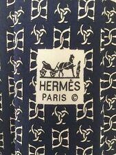 HERMES RARE MEN'S SILK TIE EQUESTRIAN STIRRUP HORSESHOE PATTERN BLUE 7011 TA