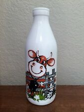 Vintage Egizia Italy, White Glass Milk Bottle, 1 Quart