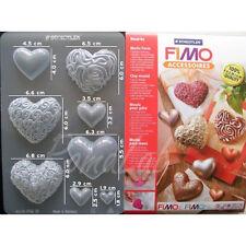 1 FOGLIO CON 8 STAMPI A TEMA CUORI PER FIMO CLAY AMORE LOVE FORMINE Hearts