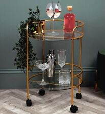 2 Tier Glass Tops Round Drinks Trolley Bar In Gold On Wheels Brand New & Boxed