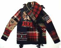 Polo Ralph Lauren Indian Head Chief Flag Patchwork Sweater Cardigan Jacket XS S