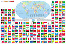 "Flags of the World Wall Map Poster 36""x24"" Multi-Color Rolled Laminated 2017"