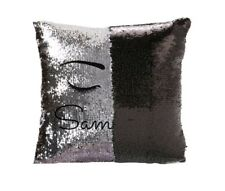 Personalised Any Name Silver & Black Sequin Eyelash Cushion Cover Birthday Gift