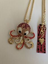 Betsey Johnson pink Enamel Crystal Cute Octopus Sweater Chain Necklace-BJ87020