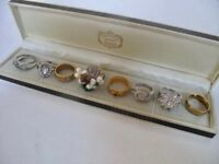 Job Lot 8 x Women's 9ct Gold Silver Plated Jewellery Gemstone Rings Pearls 37.2g