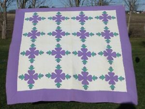 Vintage Quilt-Appliqued-Floral-Purple-Hand Quilted-Hand Stitched-GEORGOUS