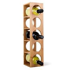 Scaffale Porta Vino Cantinetta 5 Bottiglie Bambù Impilabile Mobiletto Legno Top