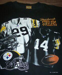 Vintage 1993 PITTSBURGH STEELERS NFL FOOTBALL T-Shirt LARGE Nutmeg