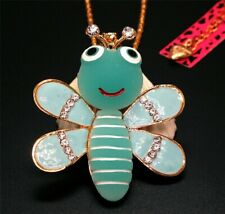 Betsey Johnson Blue Crystal Bee Gold Charm Pendant Chain Necklace Free Gift Bag