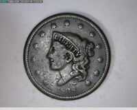 1838 Large Cent Coronet Head 1c old penny ( # 32s102 )