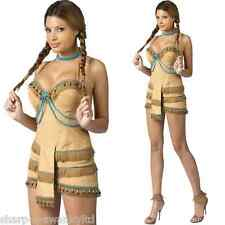 Ladies Sexy Native American Indian Squaw Wild West Fancy Dress Costume Outfit