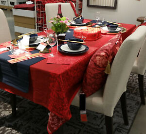 IKEA Solglimtar TABLECLOTH RED Cotton Peony Floral Blossom Xmas Chinese New Year