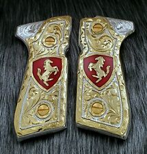 Caballitos custom grips Beretta 92fs real gold Plated handmade engraved Cachas