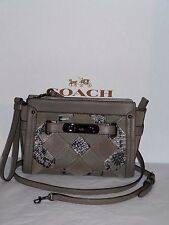 Coach Swagger Wristlet Crossbody Patchwork Exotic Embos Leather F65140 $350 NWT