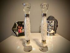 New Pair of Candle Stick Holders filled with Swarovski Crystals