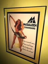 McCulloch Chainsaw Pin-Up Girl Lumberjack Framed Advertising Print Man Cave Sign
