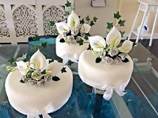 WEDDING CAKE SUGAR ROSES SET OF 3 TOPPERS IN SILVER & WHITE, IN MOST COLOURS 012