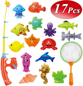 Kids Fishing Bath Toys Game 17Pcs Magnetic Floating Toy Magnet Pole NEW
