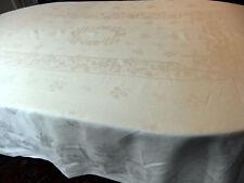 Nappe 2m40 x 1m80 en Damassé de lin XIXe à décor de Bambous