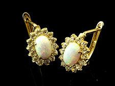 333 Gold Brisur 1 Paar Opal mit Klappverschluß Ohrringe