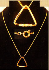 RETRO GOLD TONE FASHION TRIANGULAR NECKLACE WITH 5 BRILLIANT CUT STONES