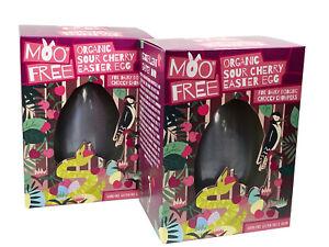 Moo Free Organic Sour Cherry Easter Egg 140g Pack of 2 - Dairy/Soya-Free - Vegan