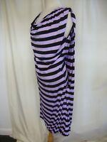 Ladies Dress Alexander McQueen lilac/black striped viscose, size M, layered 2536