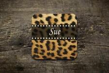 Personalised Leopard Print  Novelty Photo Glossy Mug Square Coaster ,Office Gift