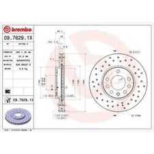 BREMBO 2x Bremsscheiben Gelocht/innenbel. beschichtet 09.7629.1X