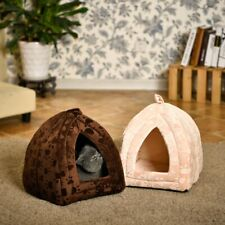 Pet Bed Cat Kitten Dog Igloo Fleece Pyramid Cozy Washable Travel Basket House