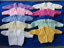 NEW Hand Knitted Baby Cardigan suit boy or girl, 2 sizes, various colours
