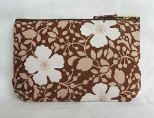 1970s Seventies Retro Vintage Small Clutch Bag Case Brown & Ivory Floral Print