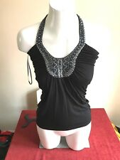 GUESS Black Heavily Beaded Halter-neck Top Size Small