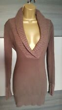Jane Norman brown angora mix bodycon jumper dress size 10