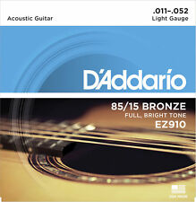 D'Addario EZ910 Bronze Acoustic Guitar Strings 11-52. Bright sounding tone