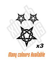 Pentagram circled vinyl stickers decals window  laptop ipad set choose colour #4