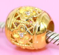 Vermeil GOLD  Plum Blossom Flower BEAD w 5pcs Sparkling CZ For Charm Bracelet