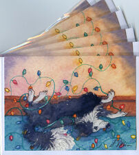 6 x Border Collie holiday Christmas greeting cards Xmas lights by Susan Alison