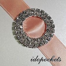 1 x DUAL DOUBLE LAYER RHINESTONES BUCKLES RIBBON SLIDERS DIAMANTES ROUND 15MM