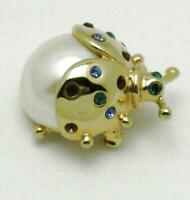 Adorable Vintage MONET Brooch Pearl Rhinestone Figural Insect Pin