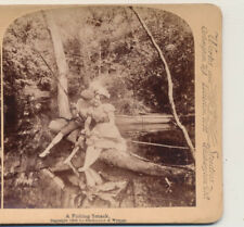 Photographer camera tripod catching the stolen kiss Underwood Stereoview 1900