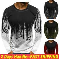 Men Casual Long Sleeve Crew Neck Tops Blouse Printed Slim Fit Muscle Tee T-shirt