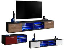 TV Lowboard LED Fernsehstand Glasböden Schrank T32 Speicherung Hochglanz&Holz