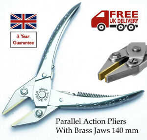 PARALLEL ACTION BRASS FLAT NOSE JAWS PLIERS BEADING JEWELLERY WATCH OPTICAL