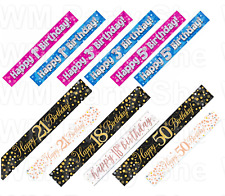 Foil Happy Birthday Party Banner Pink Blue Black Banners 9ft Decoration 1-80