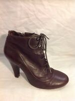 BANK Maroon Ankle Leather Boots Size 6