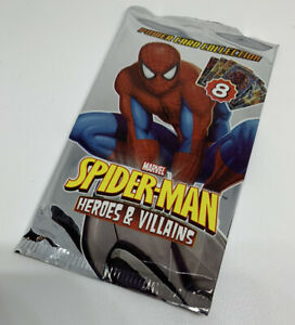 Marvel Spiderman Heroes and Villains Cards - Sealed Booster Pack Packet Rare
