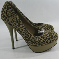"Cheetah/BROWN 5.5""Stiletto High Heel 1.5""Platform Sexy Shoes WOMEN Size 8"